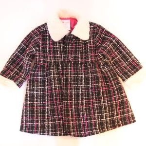 Other - Baby Girl Plaid PeaCoat with faux fur collar